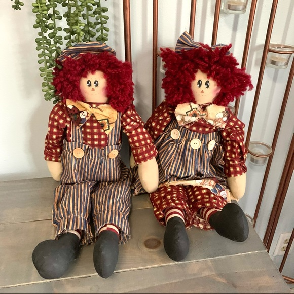 Vintage Raggedy Ann and Andy Rustic Plush Dolls
